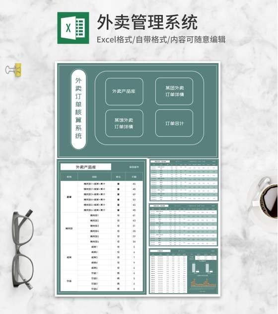 商铺外卖订单核算系统Excel模板