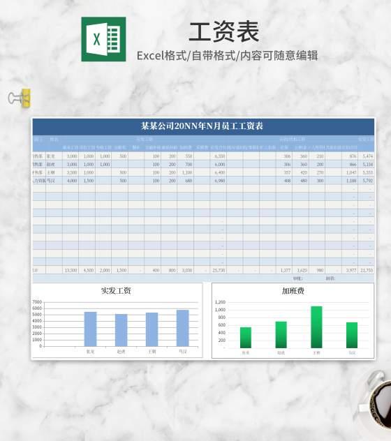 简约蓝色企业员工工资表Excel模板