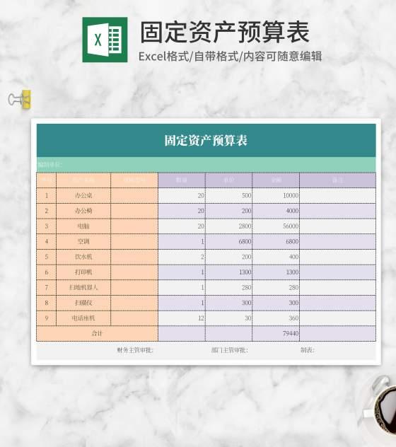 固定资产预算表Excel模板