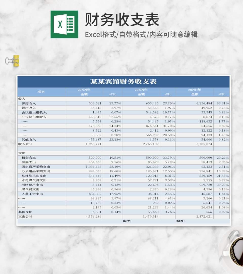 简约风蓝色收入支出表Excel模板
