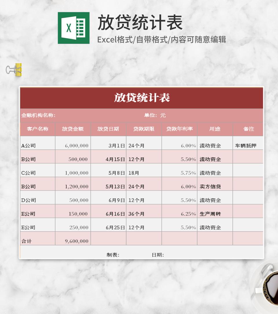 小清新粉嫩放贷统计表Excel模板