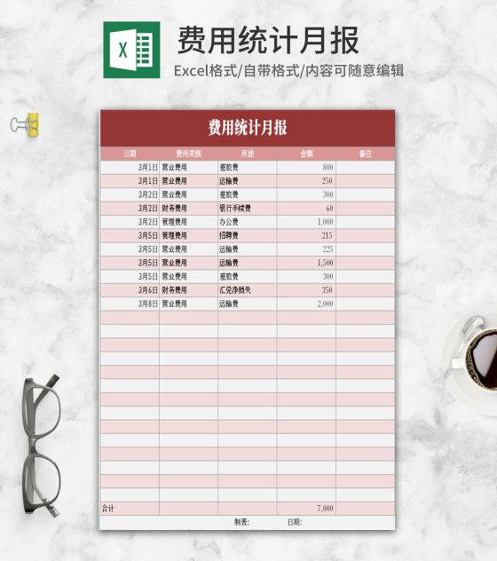 小清新粉色费用统计月报Excel模板