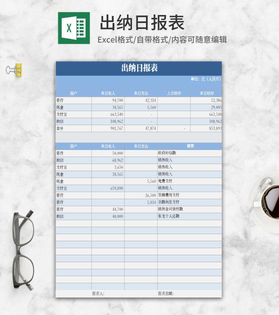 简约风浅蓝色出纳日报Excel模板