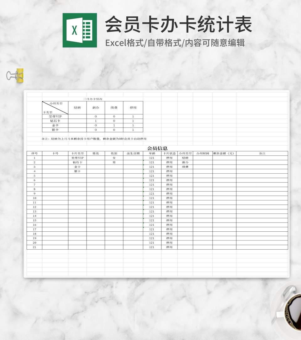 简约办理会员卡办卡统计Excel模板