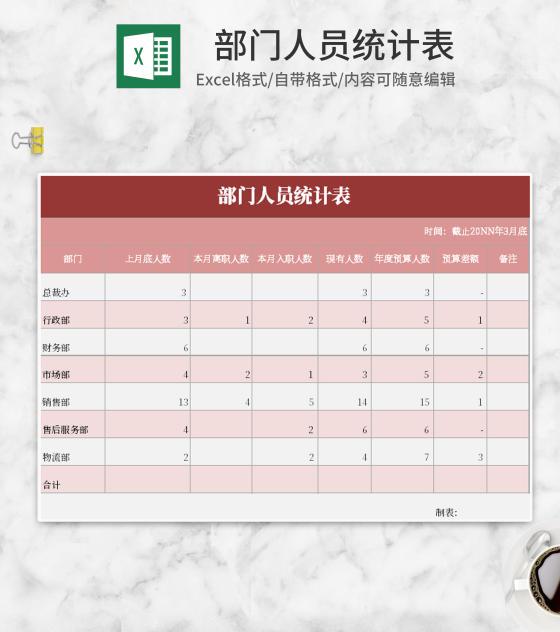 小清新粉色部门人员统计表Excel模板