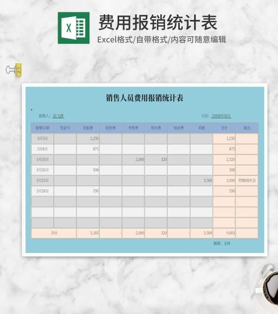 费用报销统计表Excel模板