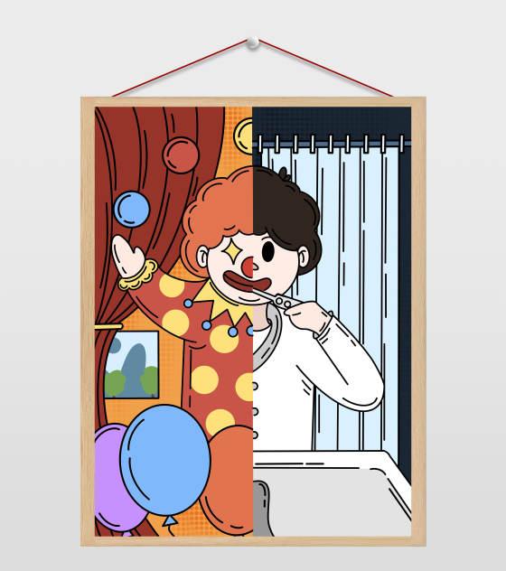 红色愚人节节日变装插画