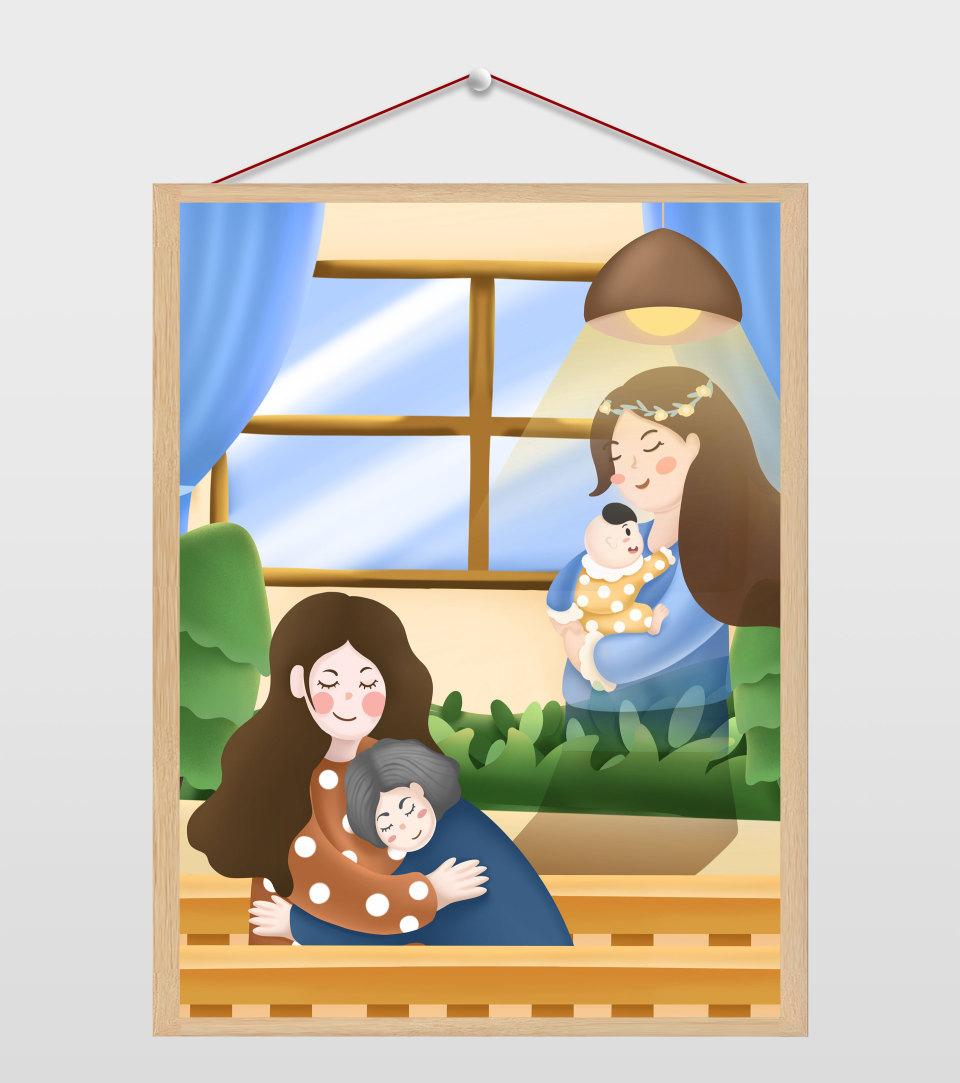 黄色卡通温馨母亲节插画