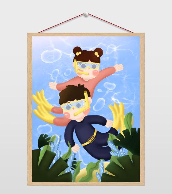 卡通男孩女孩潜水夏至插画
