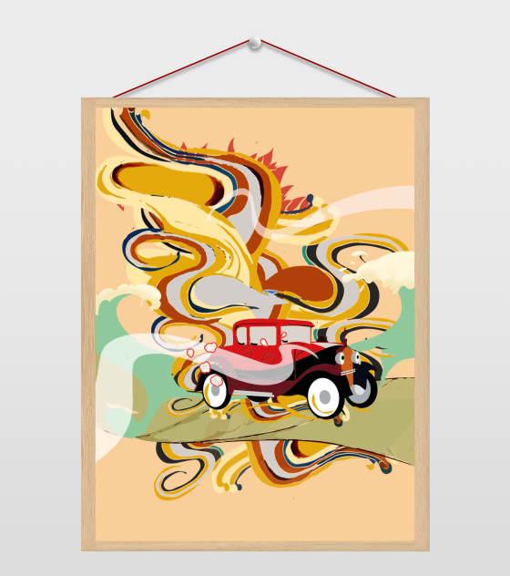 黄色复古汽车插画