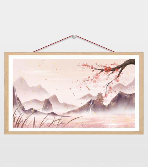 简约中国风自然建筑风光插画
