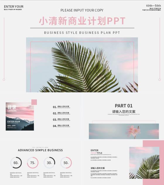 粉色椰风商业计划PPT模板