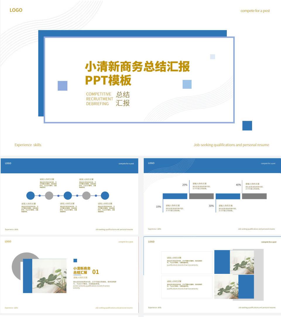 蓝色小清新商务总结汇报PPT模板