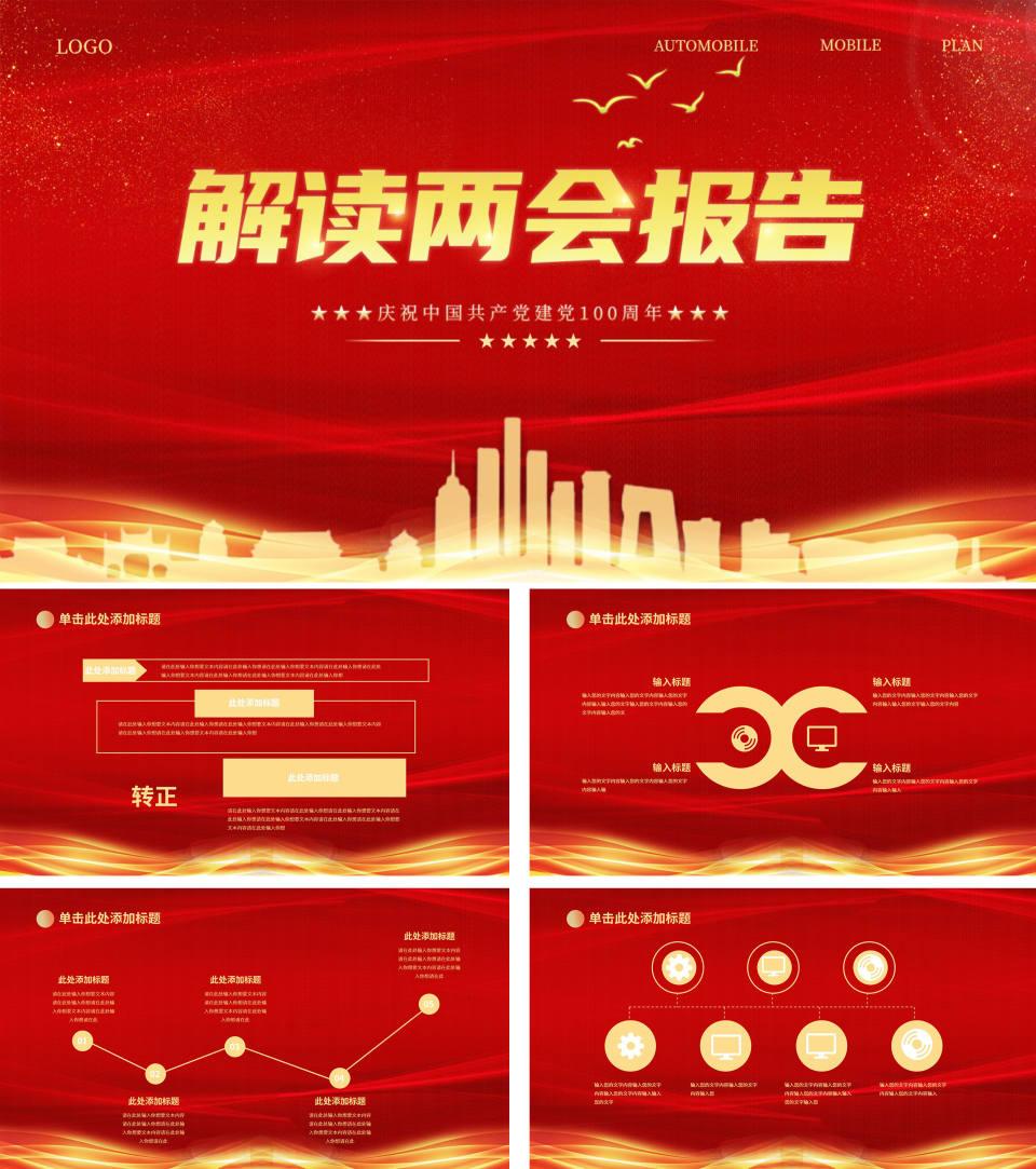 红色党政风解读两会报告PPT模板