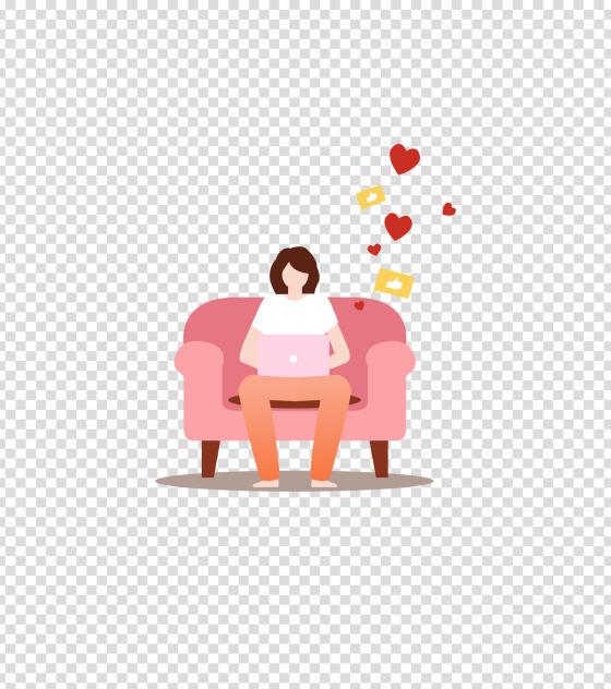 粉色办公女孩插画