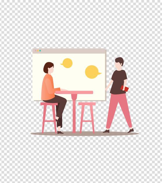 粉色办公会议插画
