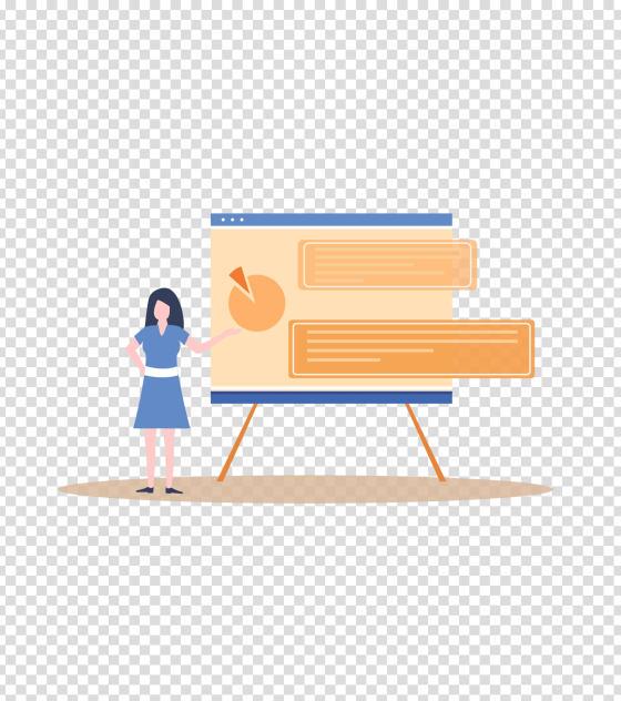 橙色女性会议演讲PPT插画