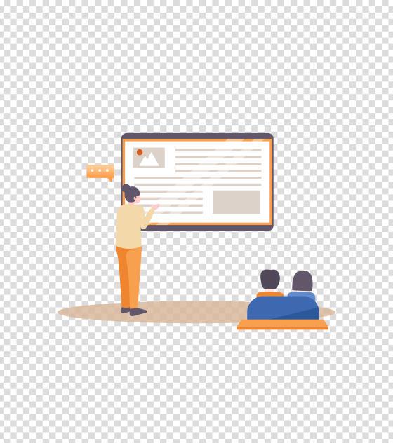 橙色商务介绍会议PPT插画