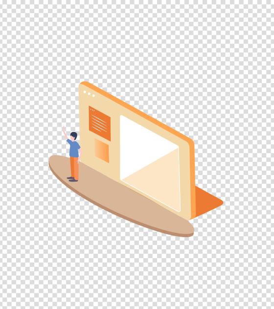 橙色男孩演讲办公PPT插画