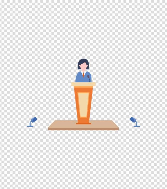 橙色女孩商务演讲PPT插画