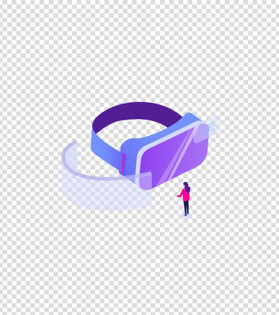 紫色立体眼镜科技办公场景