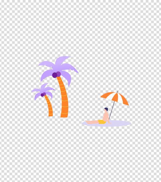 紫色男孩海边度假插画