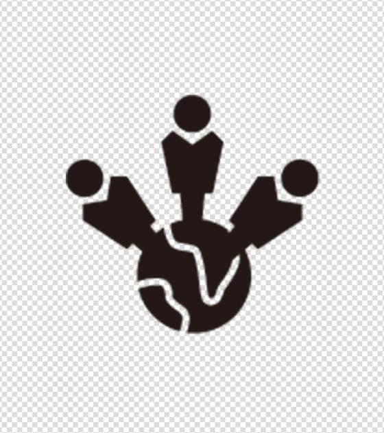 黑色三人合作会议图标