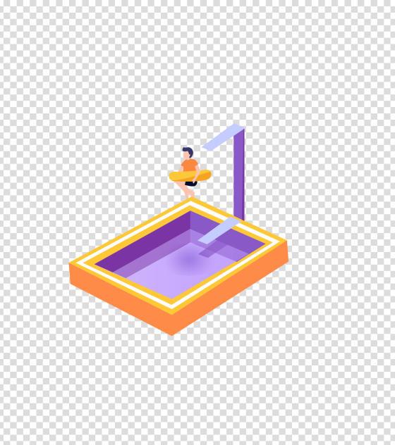 紫色夏季游泳馆插画