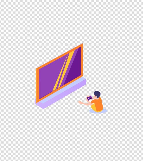 紫色男孩居家打游戏插画