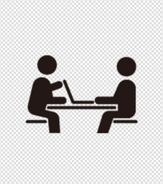 黑色两人谈话图标