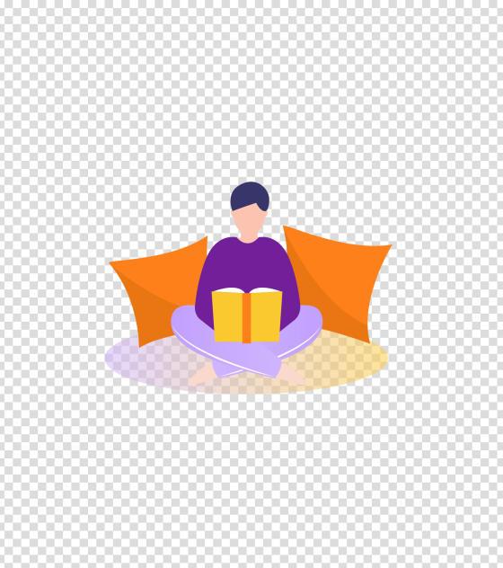 紫色居家看书男孩