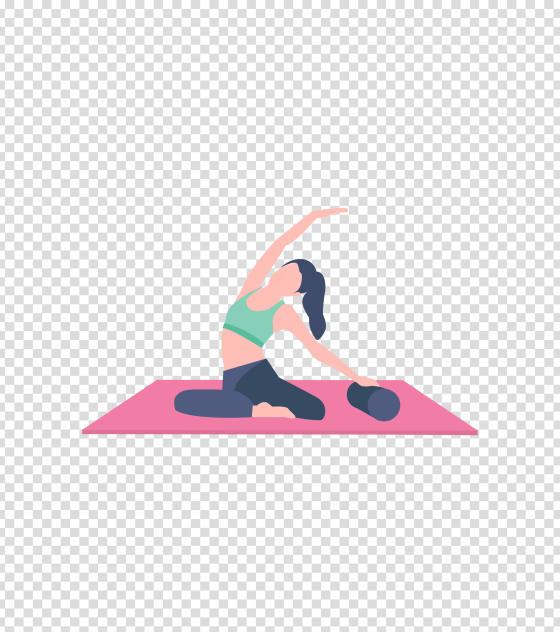 粉色瑜伽健身运动女孩