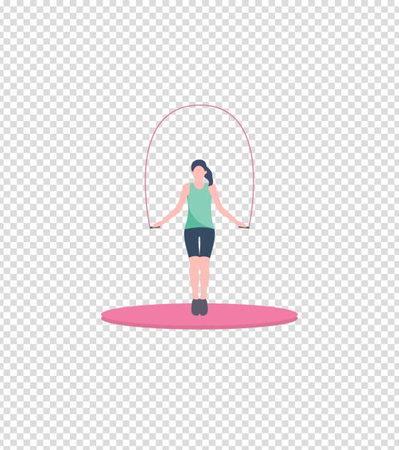 粉色跳绳运动女孩