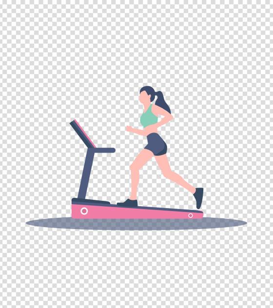 粉色跑步机运动女孩