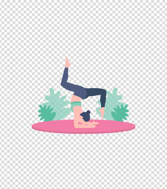 粉色倒立瑜伽女孩