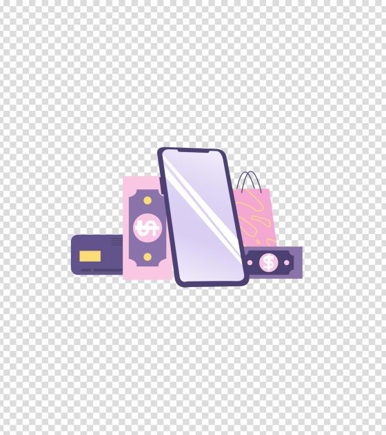 紫色手机消费购物