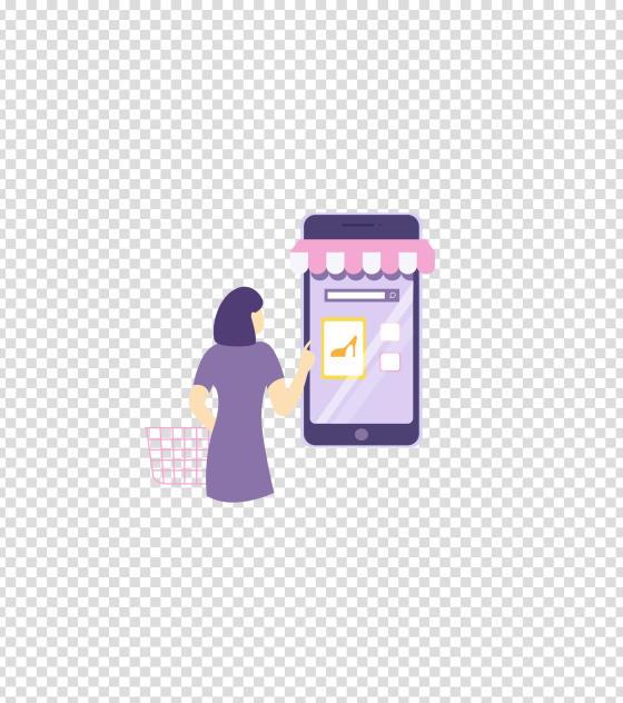 紫色女性手机购物
