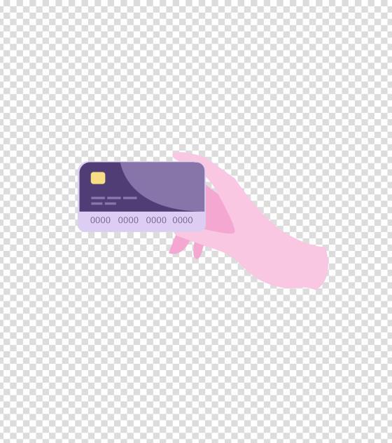 紫色手持银行卡