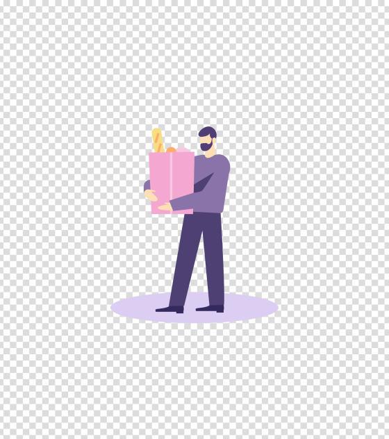 紫色拿着食品的男人