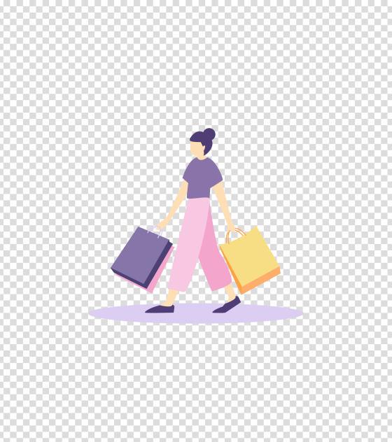 紫色女孩购物