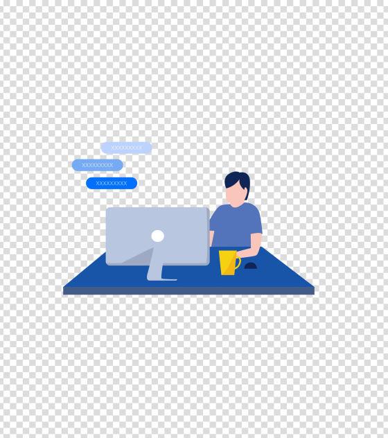 蓝色坐着办公喝茶男子插画