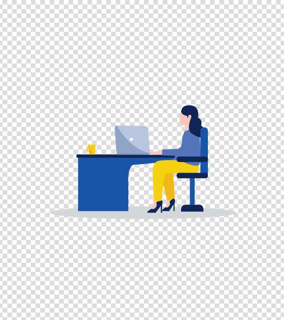 蓝色办公室办公女孩插画