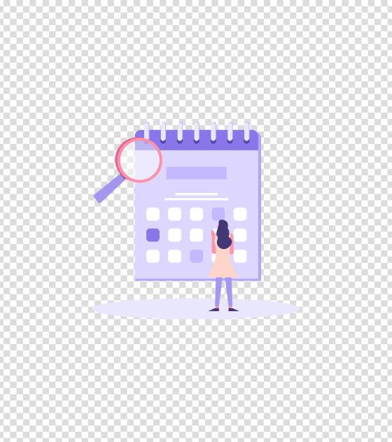 紫色办公日历女孩插画