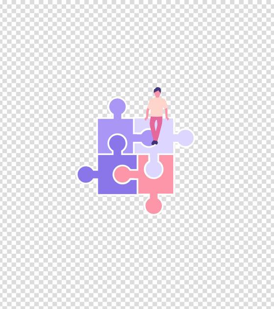 紫色拼图游戏男孩插画