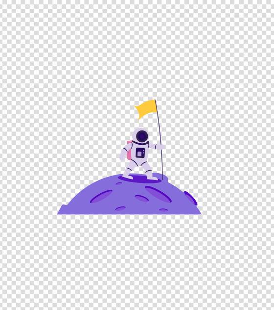 紫色宇宙宇航员登月插画