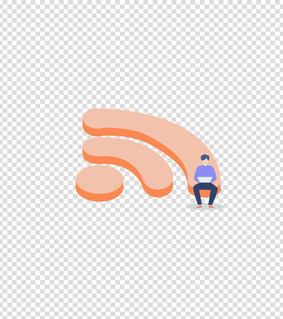 橙色无线网上网男子插画