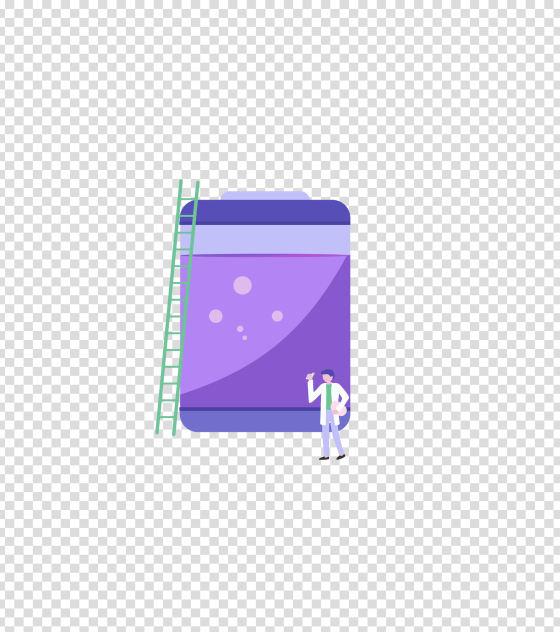 紫色科研化学试剂研究插画