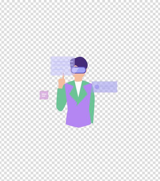紫色VR科技眼镜信息插画