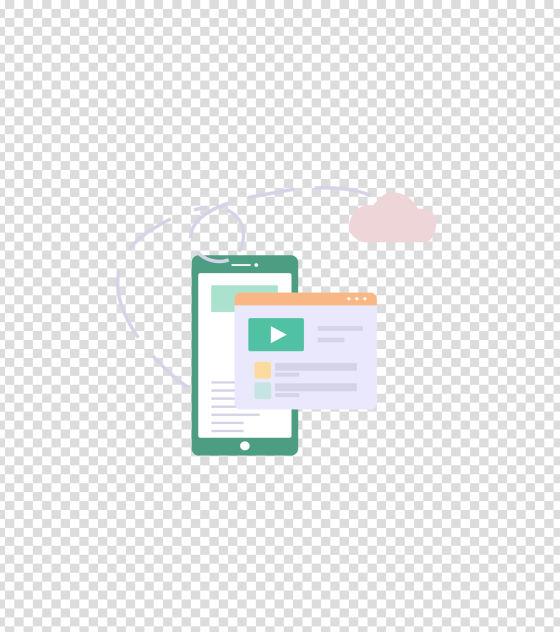 绿色手机信息浏览插画