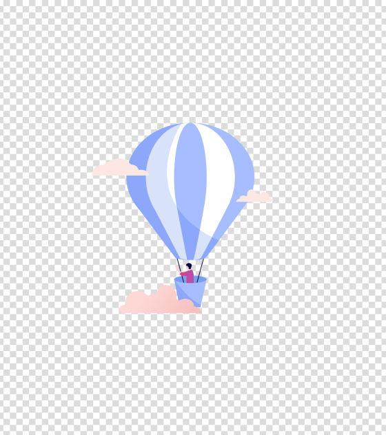 蓝色乘坐热气球插画